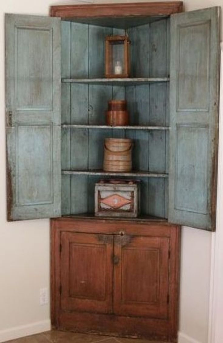 19th Century Salmon And Robinu0027s Egg Blue Paint Wood Corner Cupboard 4 Doors