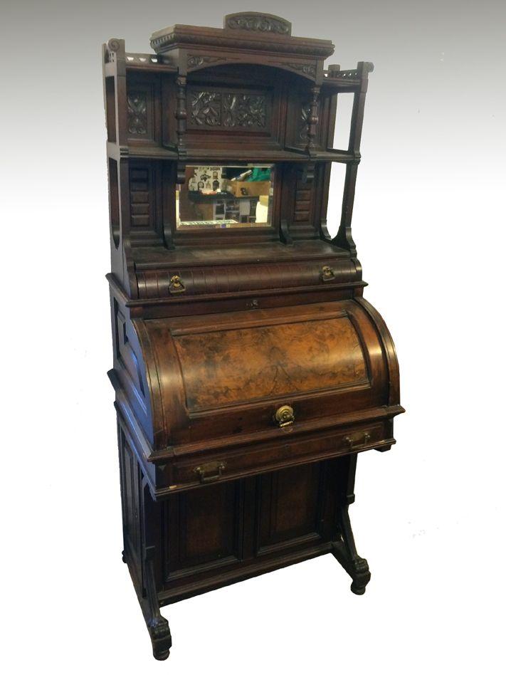 17505 Rare Victorian Cylinder Davenport Gallery Top Desk. Antique FurnitureOffice  ... - 35 Best Antique Office Furniture Images On Pinterest Maine