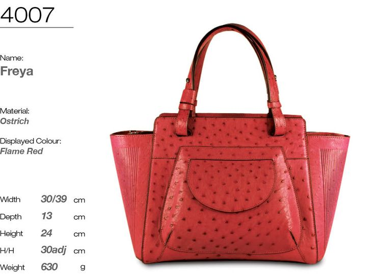 FREYA handbag in genuine ostrich