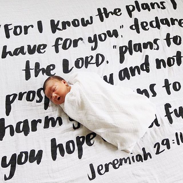"""jeremiah 29:11 - for i know the plans i have for you, plans to prosper you and not to harm you, plans to give you hope and a future"""" - bible verse swaddle blanket available at rOw10!"""