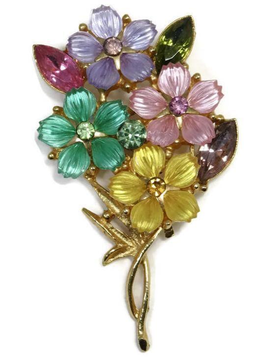 499a4264000 Vintage Floral Multicolor Rhinestone Pin Goldtone Brooch with | Etsy