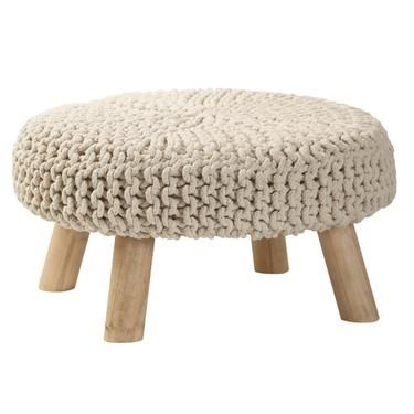Living Space Knitted Wood Stool
