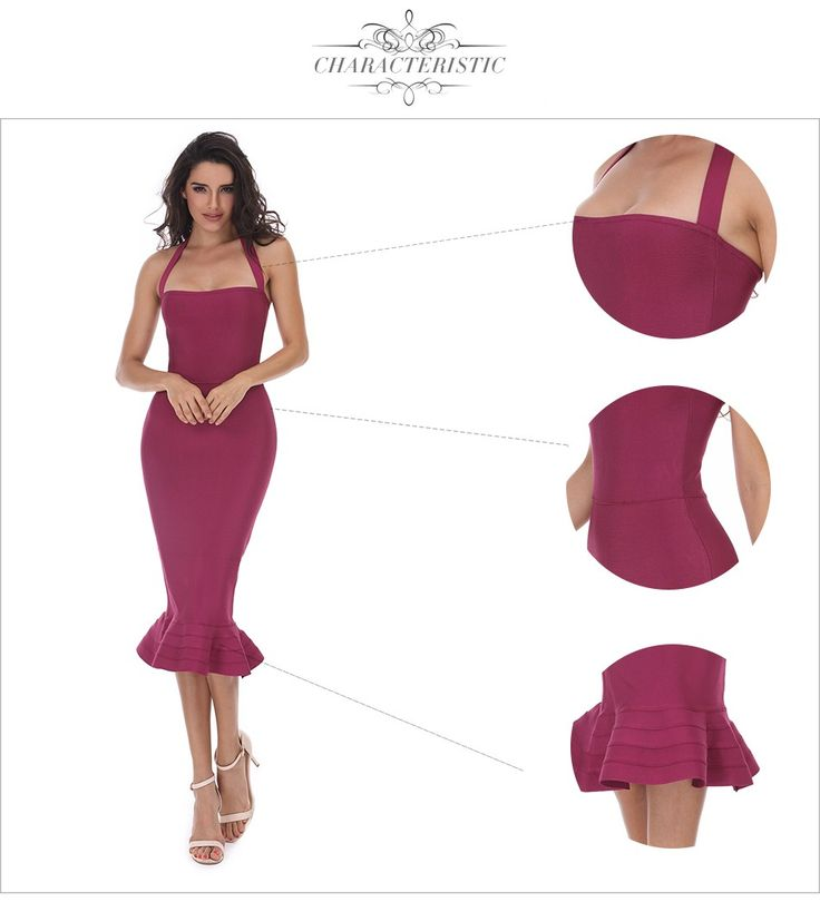 [~$20] 2017 New Women Party Bodycon Bandage Dress Sexy Khaki Wine Red Off Shoulder Halter Fishtail Midi Club Backless summer Dresses  Wholesale Womens Clothing