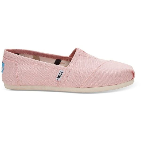 TOMS Pink Icing Canvas Women's Classics Slip-On Shoes ($37) ❤ liked on Polyvore featuring shoes, flats, pink, toms shoes, pink flats, elastic shoes, pull on shoes and canvas slip on shoes