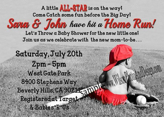 BASEBALL ALLSTAR  Baby Shower Invitation for BOY or LIttle Slugger on Etsy, $15.00