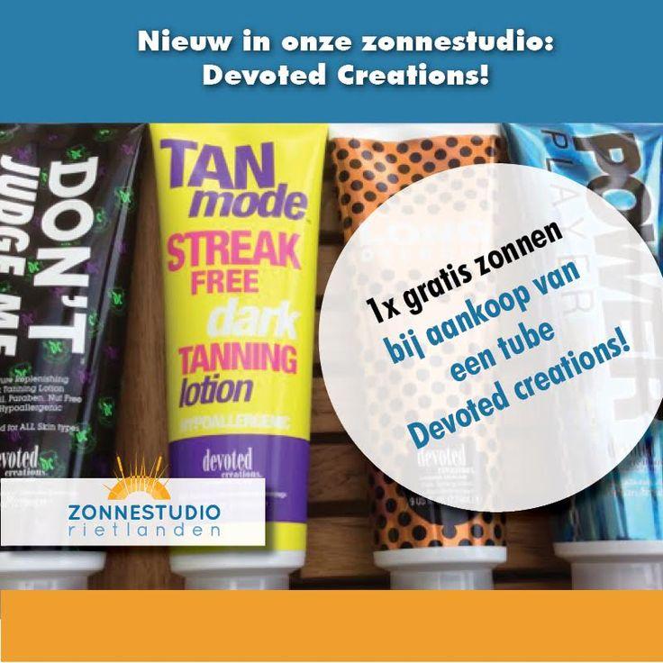 We hebben crème voor op de zonnebank van Devoted Creations. Het is beschikbaar in vier variaties. Alle crèmes zijn hypoallergeen, vrij van noten, gluten en parabenen en allemaal op basis van Aloë Vera. We hebben proefverpakking om het uit te testen voor rond de 3 euro. Bij aankoop van een 270ml verpakking is je zonsessie helemaal gratis. Meer info over de voordelen van zo'n crème vind je hier: https://www.zonnestudio-rietlanden.nl/…/zonnebankcreme-devo… geldig tm 4-11-17