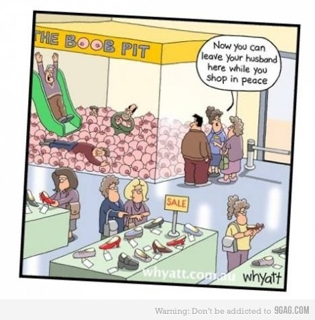 Shopping with men made easy...: Funnies Pictures, Shops, Boobpit, Comic Book, Humor, Beaches Girls, Funnies Stuff, Boob Pits, Caramel Apples
