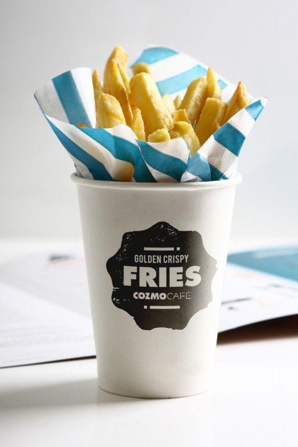 Cozmo Café: Cozmo Cafe, Idea, Food, Branding, Paper Cups, Fries Packaging, Design