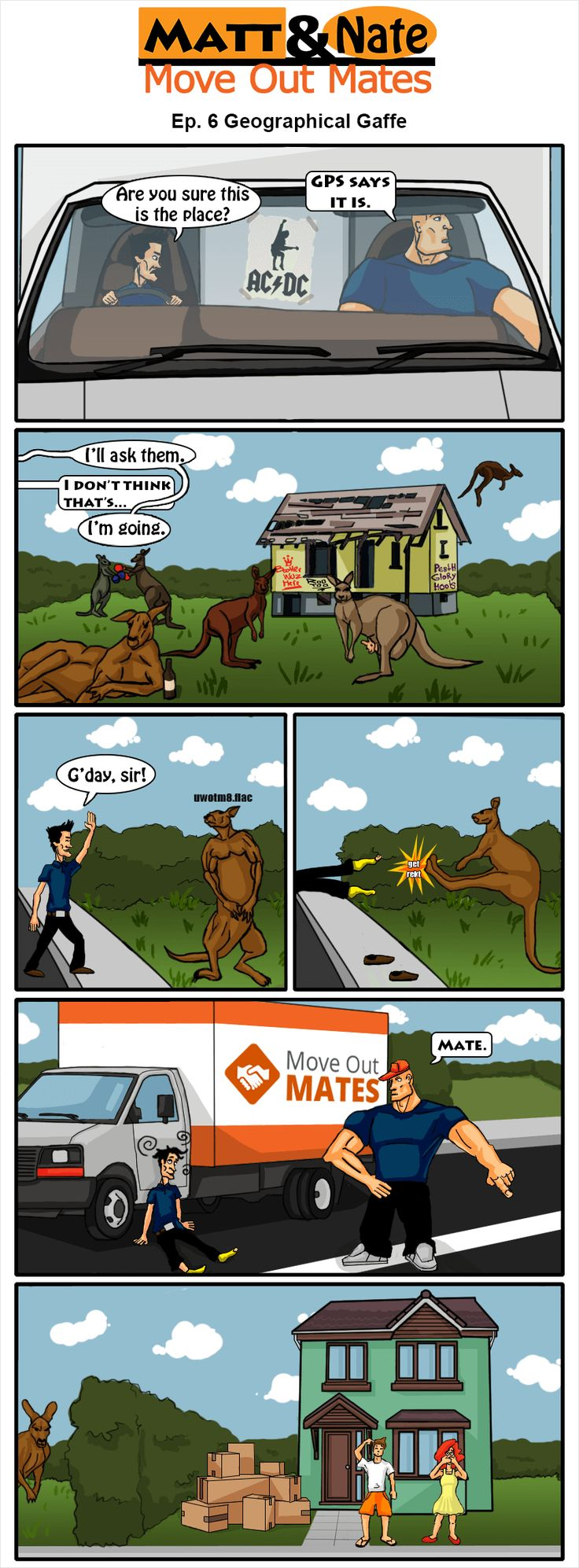 Nate the removalist gets into some trouble with a kangaroo over a wrong adress.