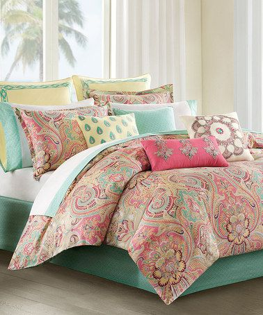 Another great find on #zulily! Coral & Mint Paisley Comforter Set #zulilyfinds