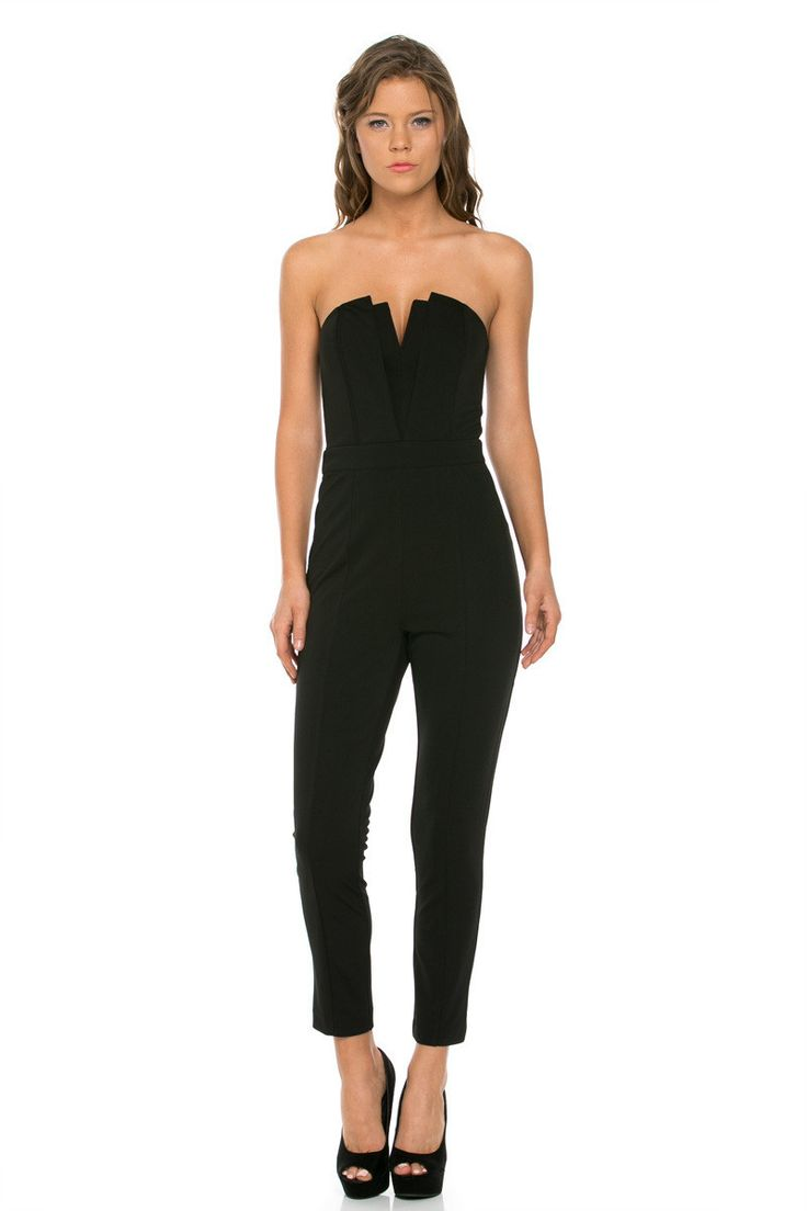 Happy hour starts with this babe of a jumpsuit. Work your dance floor moves in a look that's just mesmerizing. It comes in black and features a strapless design, plunging sweetheart neckline, enclosed