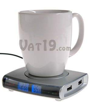 USB Drink Warmer with 4-port USB Hub: Keeps your coffee warm, powers USB devices, and tells the time!