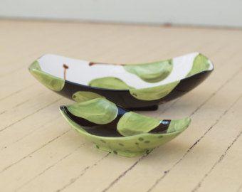 Servir tazones tazones de anidación TIGELA conjunto pera tazones hacia grandes y pequeñas de 2 vasijas oblongos verde negro blanco regalo de novia P