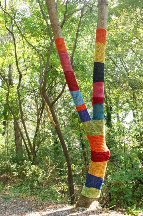 Yarn Bombing in Atlanta -- I think this would be fun to do.  If you see knitted trees around Newton . . .