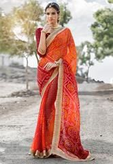 Orange & Red Color Georgette Festival & Function Wear Sarees : Selina Collection  YF-43374