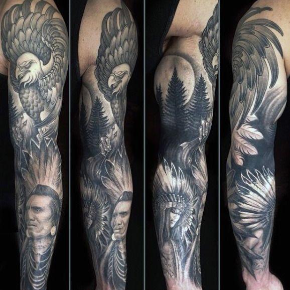 fbc224548f060 Native American Eagle Original Male Full Sleeve Tattoo Design Ideas ...