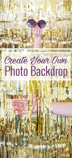 Photo backdrops will be a huge hit at any party! No need for a photo booth when you can make your own photo backdrop wall and for cheap! This sparkly gold fringe is perfect for an Oscar's party (or any award show for that manner) and golden birthdays! http://www.ehow.com/how_4777540_create-own-photo-backdrop.html?utm_source=pinterest.com&utm_medium=referral&utm_content=freestyle&utm_campaign=fanpage