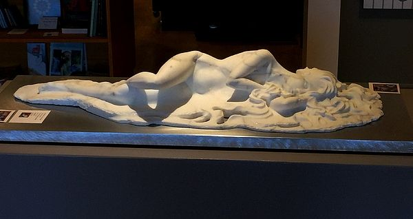 """""""The rebirth of Nanabijou"""", a marble sculpture depicting the spirit of the Great Lakes.  Currently on display at Studio 22, in downtown Kingston, Ontario.  Sculptor Victor Oriecuia.  2017."""
