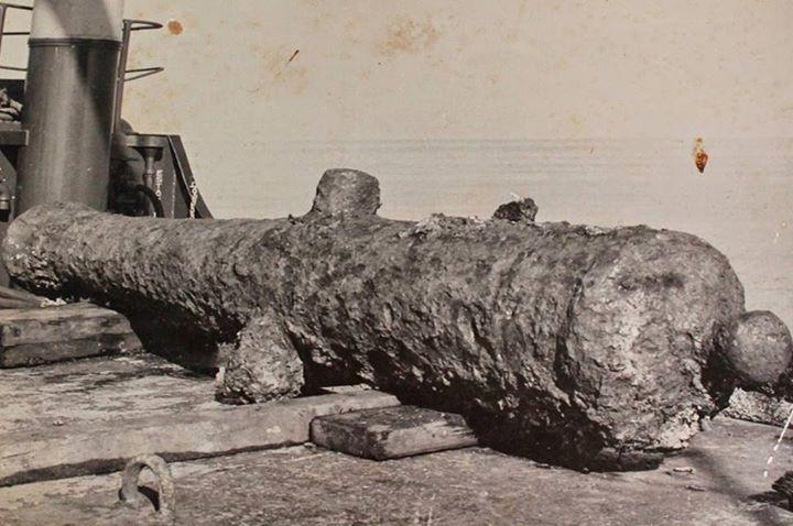 navio San Pedro Alcántara,-cañon rescatado de los mares.