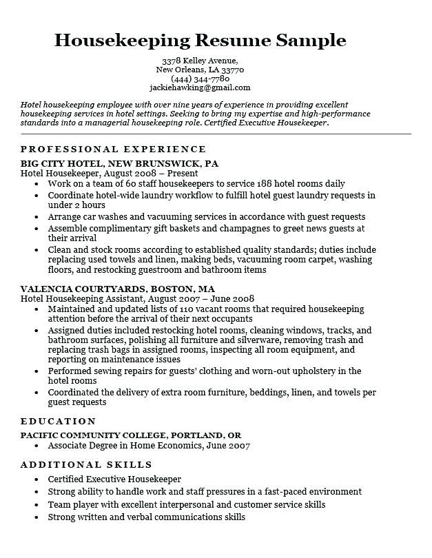 Resume Examples Housekeeping Hotel Sample Download This To Use As A Template