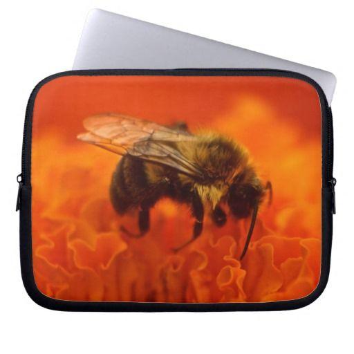 Bee on Orange Flower Laptop Sleeve