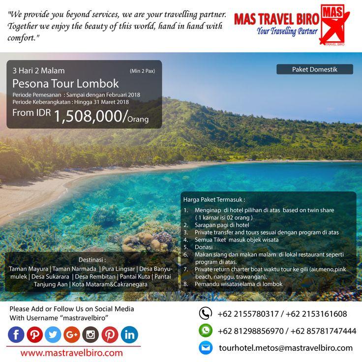 Pagi travelers Paket tour ke Pesona Tour Lombok 3 Hari 2 Malam, mulai dari harga Rp.1.508.000/Pax. Pesan sekarang di MAS Travel Biro  (Harga tidak termasuk termasuk tiket pesawat)  #mastravelbiro #promotravel #travelagent #tourtravel #tourtravelmurah #travelservices #tiketpesawat #travelindonesia #opentrip #familytour #lombok