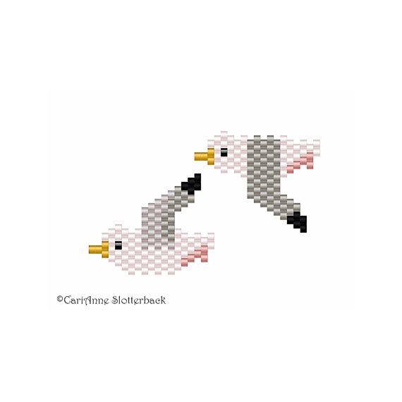 Herring Gull mini 2-3 peyote stitch par NaturalWondersbyCari Retrouvez tout le matériel nécessaire sur https://la-petite-epicerie.fr/fr/720-perles-miyuki-brickstitch-peyote-acheter-pas-cher