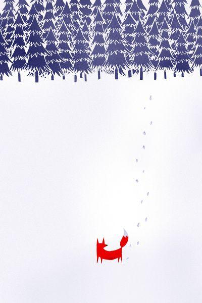 Un renard perdu dans la neige: ça ferait un bon design pour une pièce hivernale!