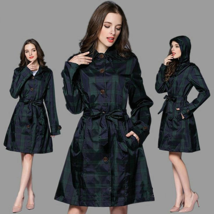 2017 Fashion Big Lattice With Belt  Rian Jacket Women Dress Style Poncho Waterproof Long Raincoat Adults Outdoor Rainwear #Affiliate