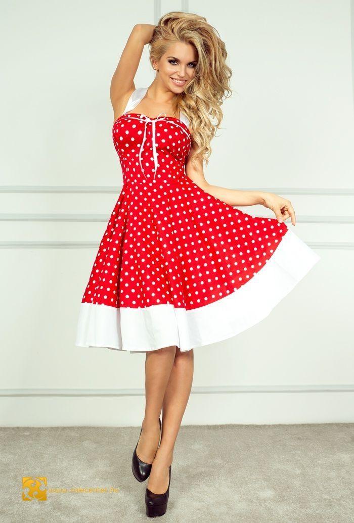 1ebecf3747 Rockabilly stílusú ruha 2 színben pin up retro vintage menyecske ruha  pöttyös magyaros hagyományos Nyári Ruhák