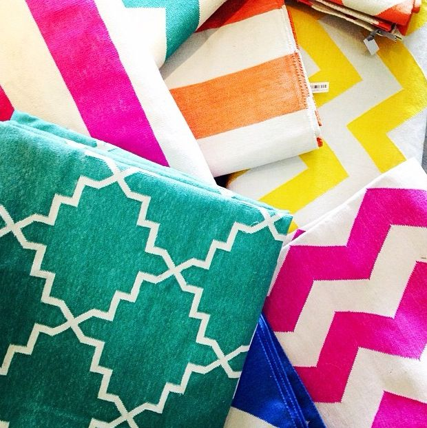 Bright coloured dhurrie rugs and runners. #magnoliainteriors #fun #bright #colour #chevron #stripe #interiors #design