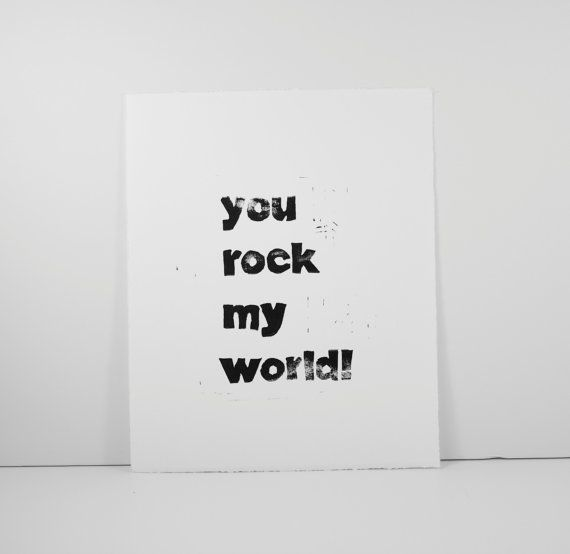 You Rock My World Typography Block PRINT in by RetroModernArt