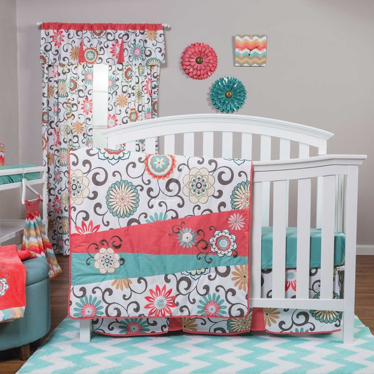 Waverly Pom Pom Play Bedding | Coral and Teal Crib Bedding for Girls - 71049