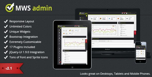 MWS Admin - Full Featured Admin Template   http://themeforest.net/item/mws-admin-full-featured-admin-template/1460451?ref=damiamio         MWS Admin 3.0 in Progress Stay tuned for MWS Admin 3.0, the first release to be build completely on Bootstrap 3. This release will be retina ready, uses zero images for the layout except for the backgrounds and it will be updated to use only the latest, modern plugins! 2.0 Milestone Reached After 6 times a 1.x releases and more than thousand sales, MWS…