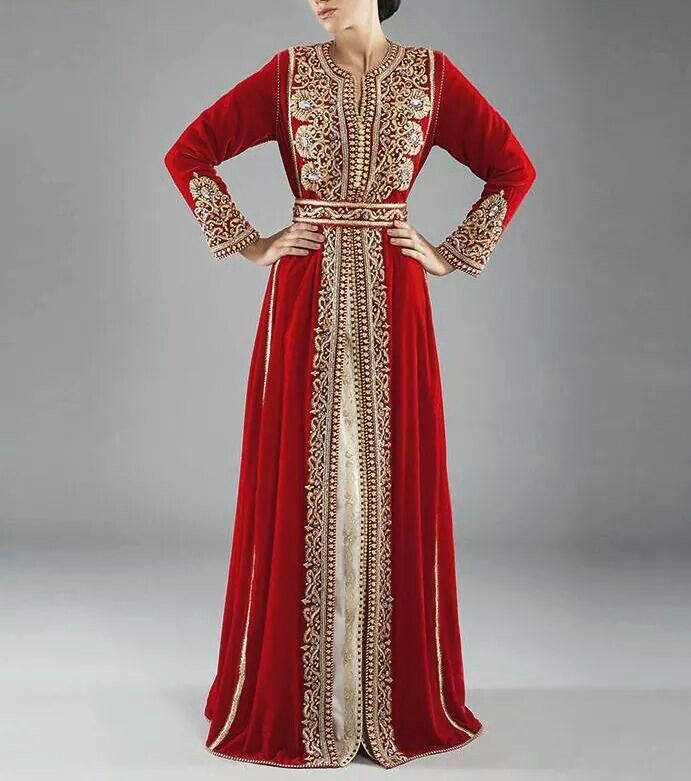 Walking around in a caftan. Exotic touches are better instead of all out. (Red and gold Moroccan caftan)