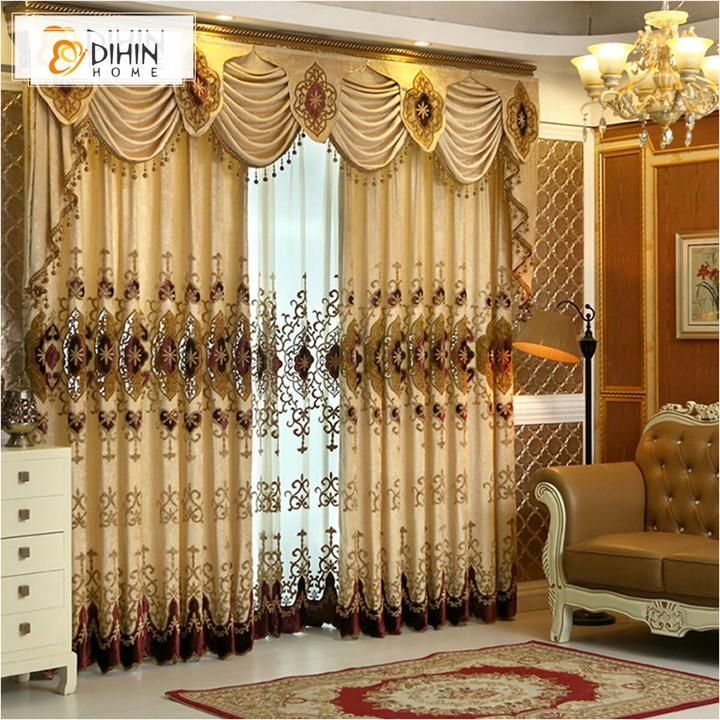 Dihin Home Complex Pattern Embroidered Valance Blackout Curtains Grommet Window Curtain For Living Room 52x84 In Curtains Living Room Luxury Curtains Curtains #pattern #curtains #for #living #room