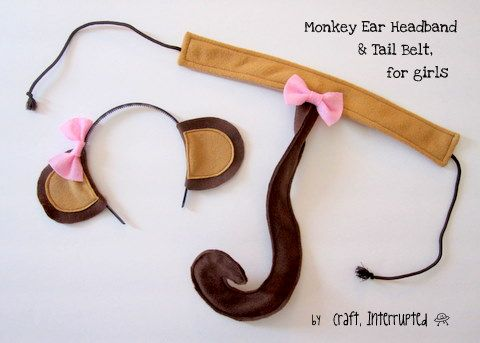 Craft, Interrupted: Monkey Party Favors - Monkey Ear Headbands & Tail Belts! includes links to other parts of monkey party