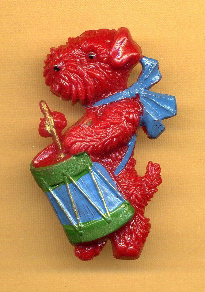 Vintage Germany Scottie Scotty Dog Pin Brooch Celluloid/Bakelite Era, Drum