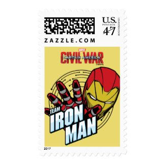Team Iron Man Cartoon Logo Postage #postage #stamps #customstamps #mail #invites #letters #postage #postage stamp