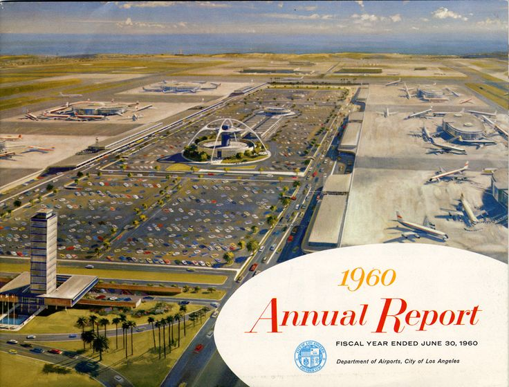 Annual report for the fiscal year ending June 30, 1960 printed by the Department of Airports, City of Los Angeles. Pages 14 and 15 of this brochure have information on the proposed construction at Van Nuys Airport.  West Van Nuys Chamber of Commerce Collection. San Fernando Valley History Digital Library.