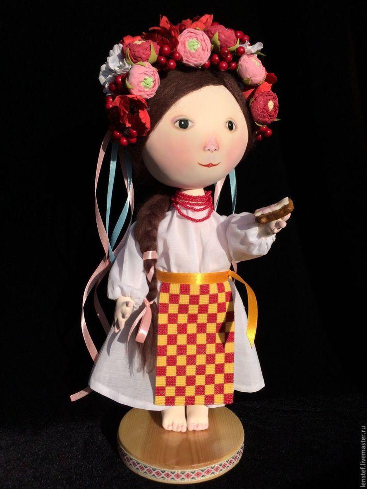 Купить Хлебушек с салом ..... - комбинированный, грунтованный текстиль, по мотивам, гапчинская, украинская кукла, подарок, бязь