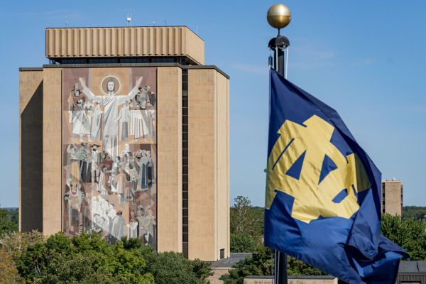 Sep 2, 2017; South Bend, IN, USA; A general view of the Word of Life mural, commonly known as Touchdown Jesus before the game between the Notre Dame Fighting Irish and the Temple Owls at Notre Dame Stadium. Mandatory Credit: Matt Cashore-USA TODAY Sports