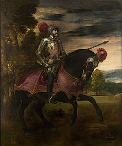 Titian's Equestrian Portrait of Charles V (1548) celebrates the Emperor's victory over the Protestants at the Battle of Mühlberg (1547)