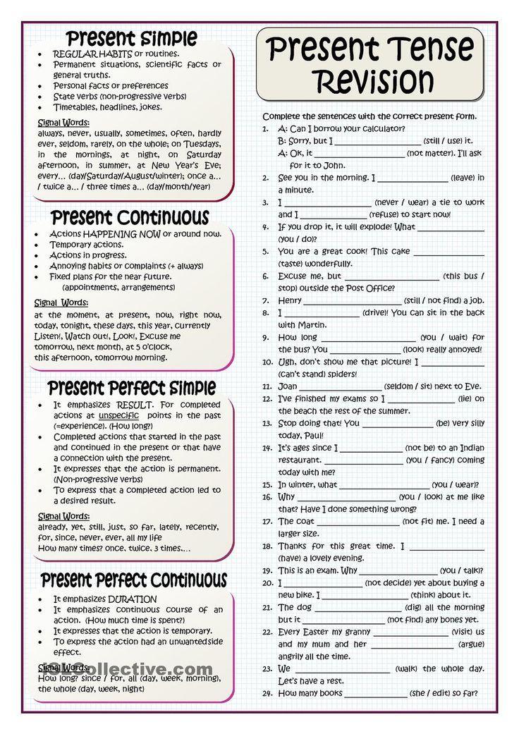PRESENT TENSES REVISION – #current #revision #tenses