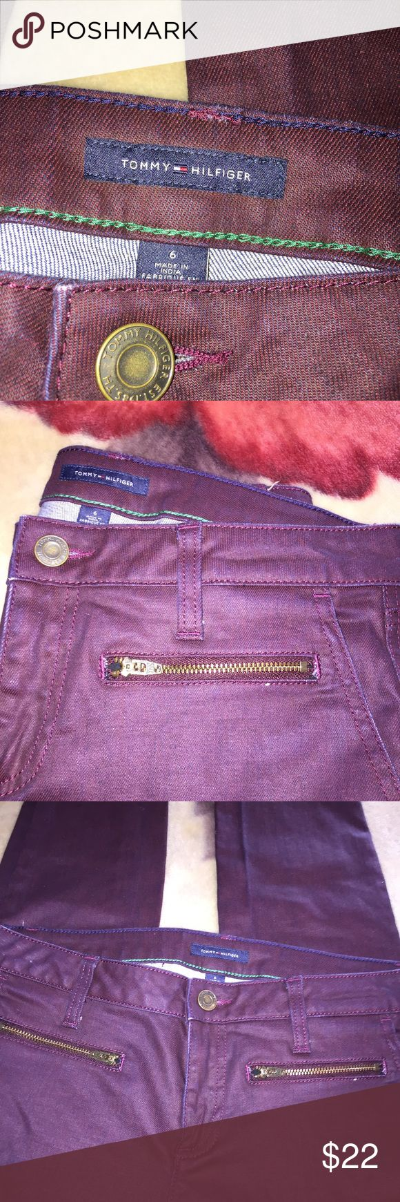 NWOT 6 TOMMY Hilfiger special coated FALL RED 👖 Sz 6, Tommy hilfiger brand,great pants for fall,a pretty burgundy/wine/red blue jeans ,great fall/autumn pants with boots or booties  and chunky sweaters. Has front pockets as well as faux zipper pocket detail.cuter than pics show Skinny or tapered straight leg.,new without tags condition. Tommy Hilfiger Jeans