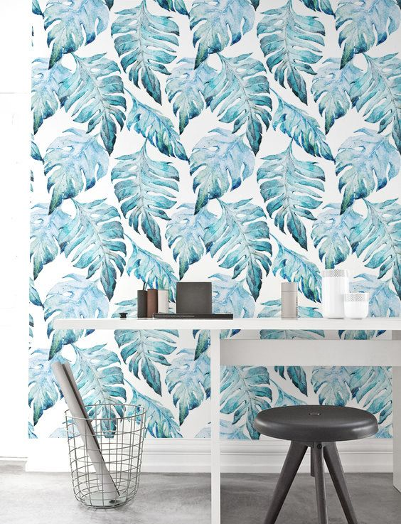 Watercolor Monstera Leaf Wallpaper Removable Wallpaper By Jumanjii Inspiration Renovering