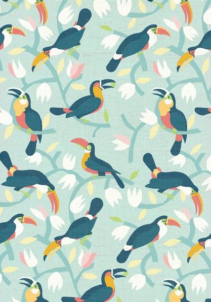 toucans tropical pattern, textile design by marco marella