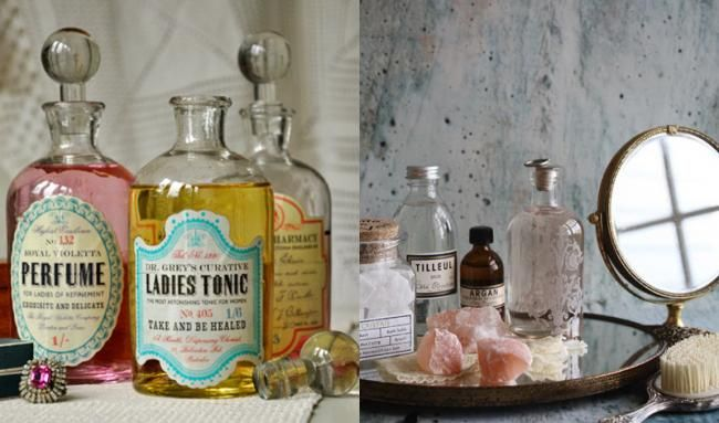 Cómo decorar con botellas vintage de boticario