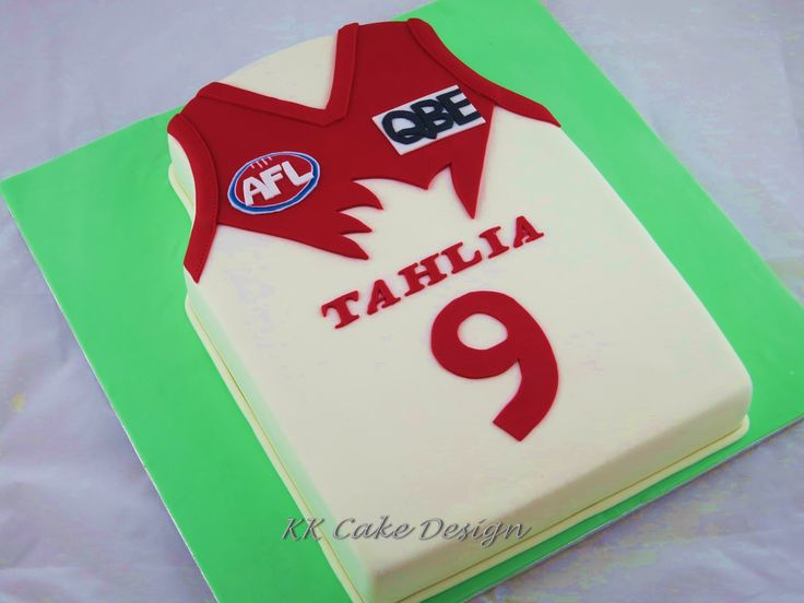 AFL Sydney Swans guernsey cake for a young fan. Chocolate cake covered with dark chocolate ganache and fondant