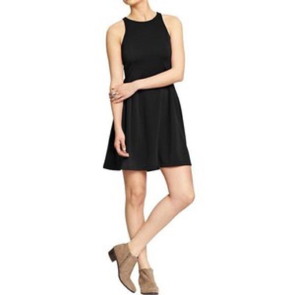 Old Navy Fit & Flare Ponte Dress - Black NWT Classic black dress. Extremely comfortable, figure flattering style. Never worn. NWT. Also have identical dress in navy color. Just ask :) Old Navy Dresses